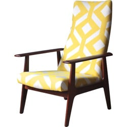 Dutch Topform armchair in teak and white and yellow fabric - 1970s