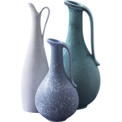 Set of 3 Rörstrand vases in blue ceramic, Gunnar NYLUND - 1940s
