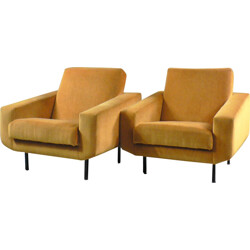 Pair of yellow velvet armchairs - 1950s