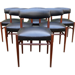 Set of 6 Scandinavian chairs in rosewood and black leatherette - 1960s