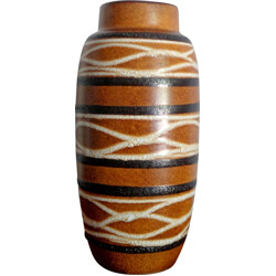 German Scheurich vase in brown ceramic - 1960s