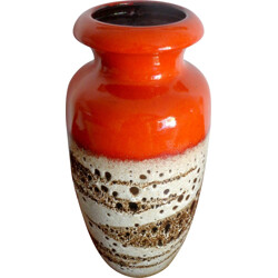 German Scheurich vase in orange ceramic - 1960s