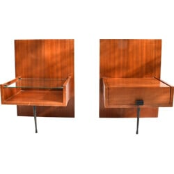 Pair of night stands in oak wood - 1960s