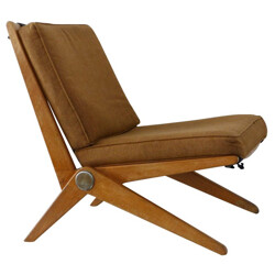 """Pair of low chairs """"Scissor"""" type 92, Pierre JEANNERET - 1950s"""