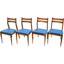 Set of 4 dining chairs in blue leatherette - 1970s