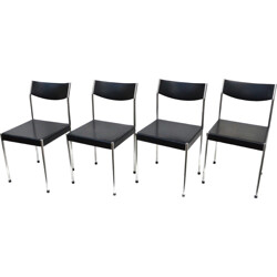 Set of 4 German Kusch & Co chairs in black leatherette - 1960s