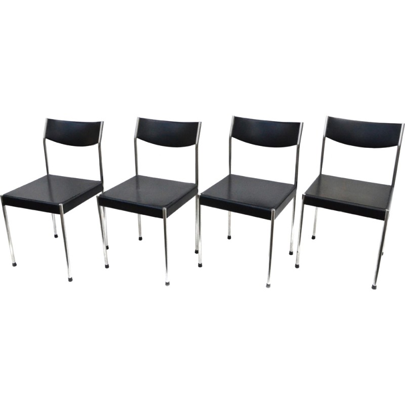 Set of 4 German Kusch & Co chairs in black leatherette - 1960s ...