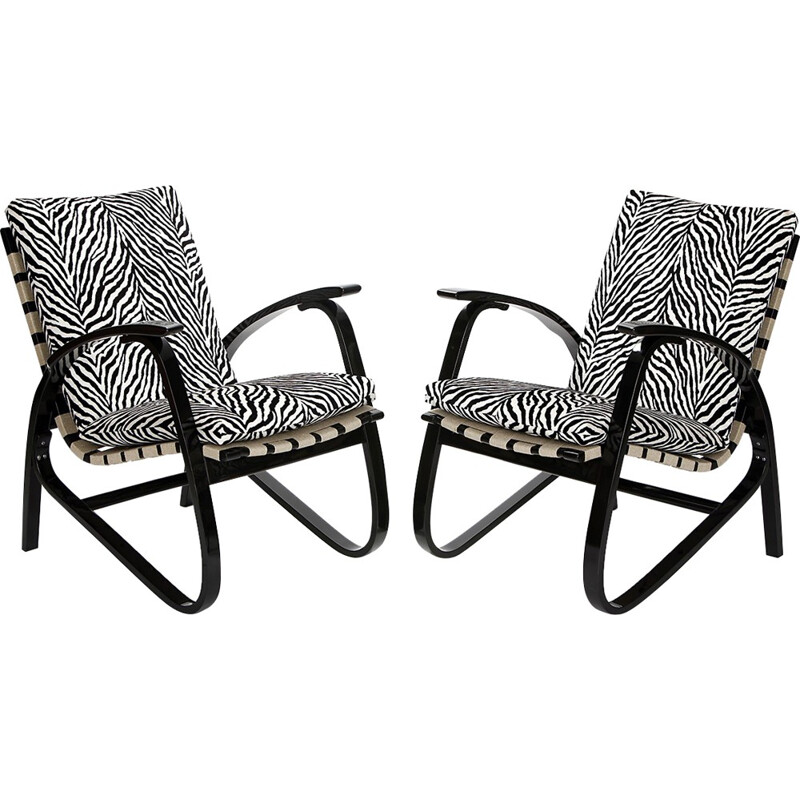 Pair of armchairs in beech and zebra print velvet, Jan VANEK - 1930s