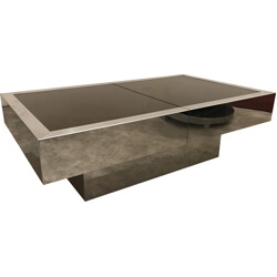 Steel bar coffee table, Willy RIZZO - 1970s