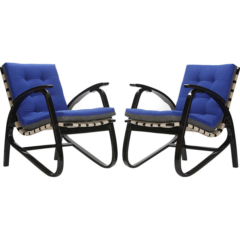 Pair of armchairs in blue fabric and beech, Jan VANEK - 1930s