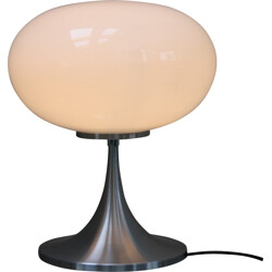 German table lamp in white glass and stainless steel - 1960s
