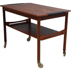 Mid-century coffee table in rosewood on wheels - 1950s