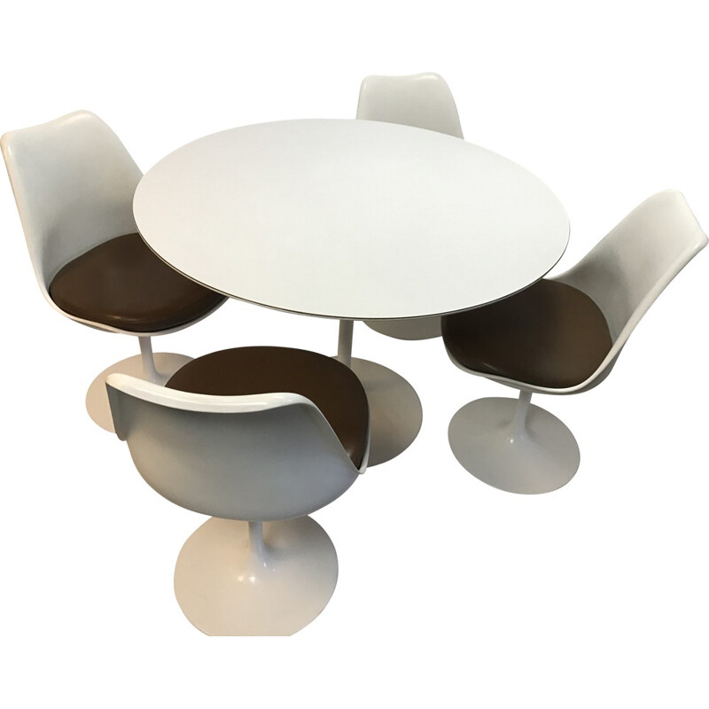 """Knoll dining set with 4 chairs and a table """"Tulipe"""", Eero SAARINEN - 1950s"""