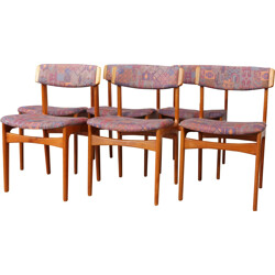Set of 6 Scandinavian dining chairs in teak and fabric - 1960s