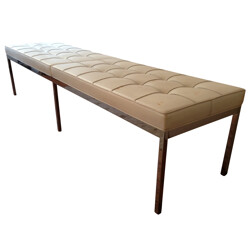 White padded bench, Florence KNOLL - 1960s