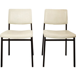 Pair of grey leatherette dinning chairs - 1960s