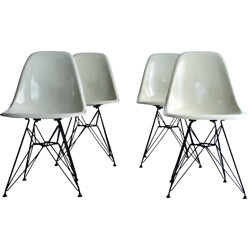 "Set of 4 beige Herman Miller ""DSR"" dining chairs, Charles EAMES - 1950s"