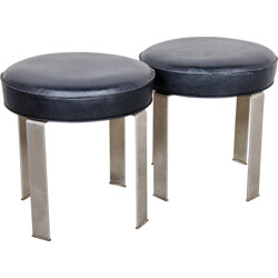 Belform pair of steel and leatherette low stools - 1970s