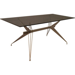 Glass and lacquered metal dinning table - 2000s