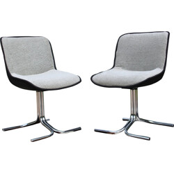 Pair of chromed and grey fabric chairs - 1970s