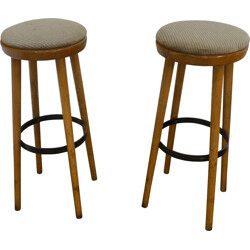 Pair of barstools in beech and textile - 1960s