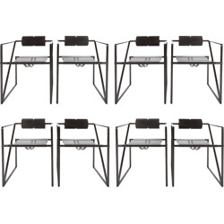 "Set of 8 black ""seconda 602"" chairs, Mario BOTTA - 1980s"