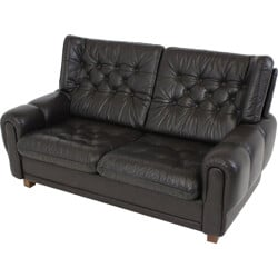Vyber beech leather sofa in brown - 1970s