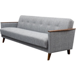 Convertible sofa in beech wood and grey fabric  - 1960s