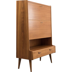 Highboard with secretary in walnut veneer - 1950s
