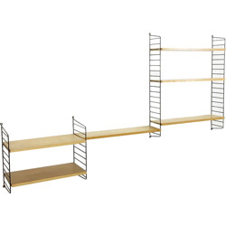 String Furniture ash wall unit with 3 modules and 6 shelves,  Nisse STRINNING - 1970s