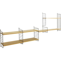 String Furniture ash wall unit with 4 modules and 7 shelves, Nisse STRINNING - 1970s