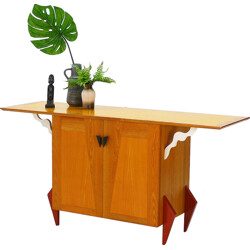 Sideboard in beech and ash wood - 1980s