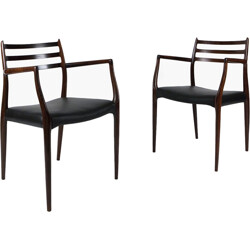 "Pair of ""Model 62"" rosewood chairs, Niels MOLLER - 1960s"