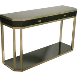 Large console table in black lacquered metal and brass, Jean Claude MAHEY - 1970s