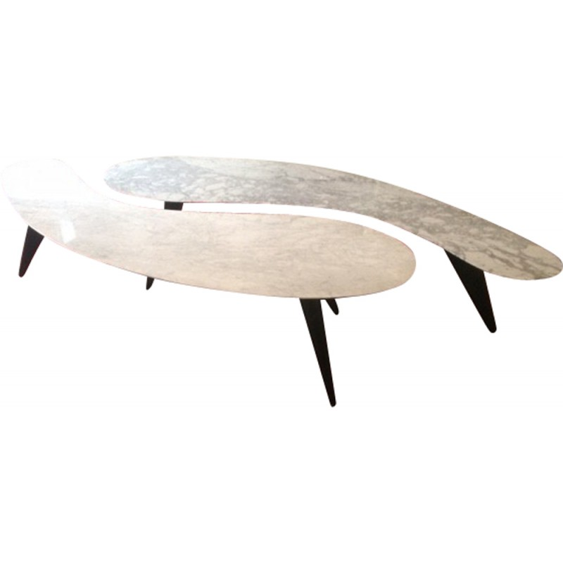 Pair Of White Carrara Marble Coffee Tables S Design Market - White carrara marble coffee table