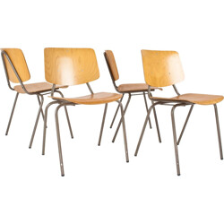 "Set of 4 Car Katwijk school ""model 305"" chairs by KHO LIANG LE - 1950s"
