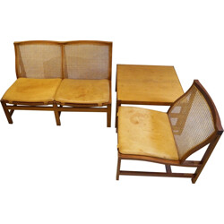 """""""King Series"""" set of 2-seater sofa coffee table and easy chair in mahogany, Rud THYGESEN and Johnny SORENSEN - 1960s"""