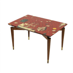 Teak side table with decorative table top  - 1950s