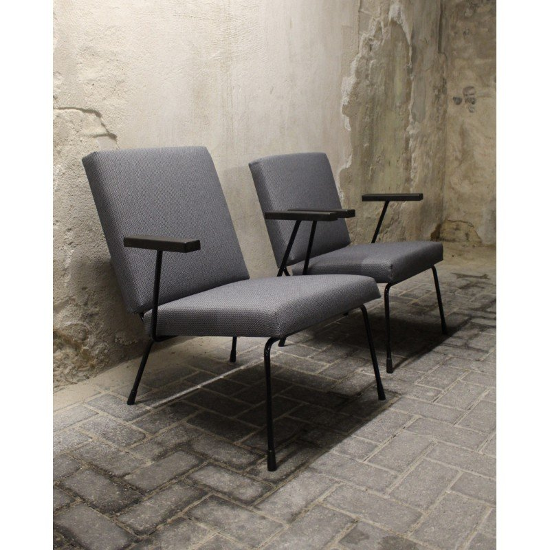 set of two gispen 415 1401 industrial lounge chairs wim