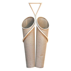 Double umbrella bin in white metal, Mathieu MATEGOT - 1950s