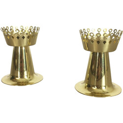 Set of 2 Hans Agne Jakobsson A. B Original brass candle holder, Hans-Agne JAKOBSSON - 1960s