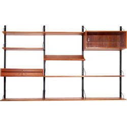 """Danish """"Royal System"""" for wall in teak, Poul CADOVIUS - 1950s"""