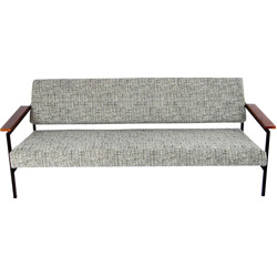 Three-seater sofa in black and white mixed fabric - 1960s