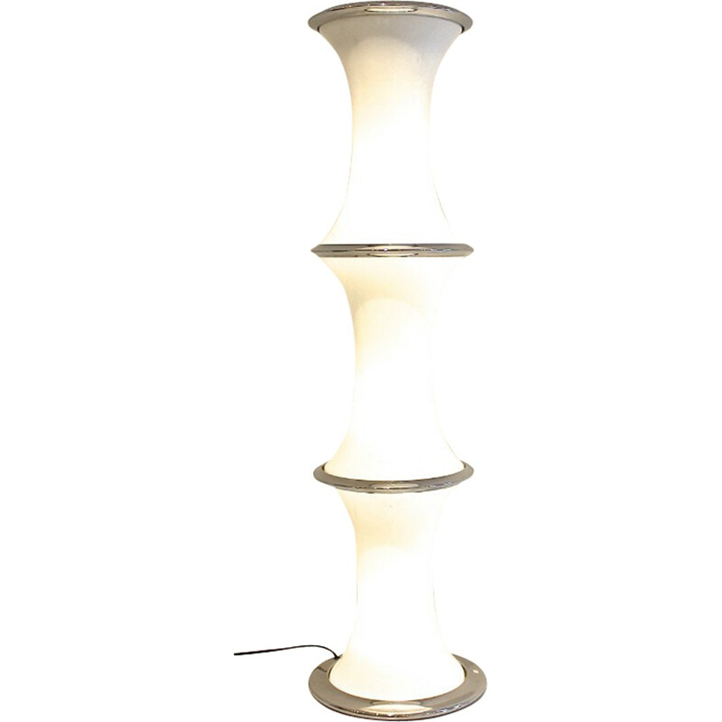 Vistosi white floor lamp in Murano glass, Enrico TRONCONI - 1970s