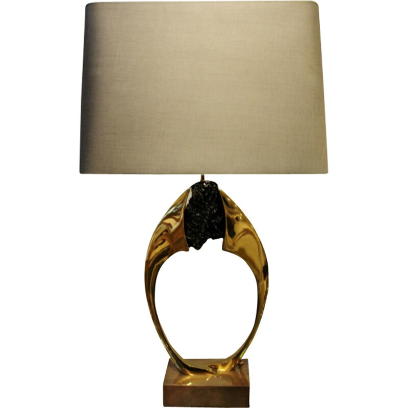 Table lamp in stone and brass, Willy DARO - 1970s
