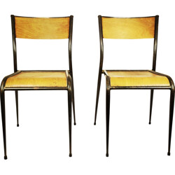 Mid-century pair of school chairs - 1950s