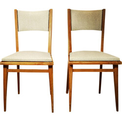 Pair of two grey vinyl and wood dinning chairs - 1960s