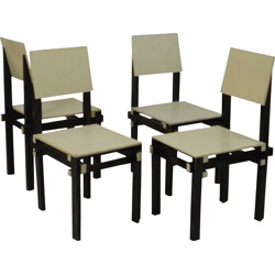 Set of 4 black military chairs - 1930s