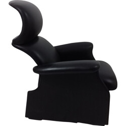 "Studio Simon ""San Luca"" black leather armchair, Achille and Piero CASTIGLIONI - 1970s"