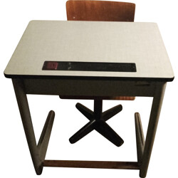Vintage child desk with wooden chair- 1960s